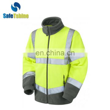 New design nice-looking safety tech fleece hoodie fluorescent jacket softshell