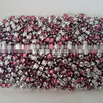 Flat Back Rose Rhinestones With Back Cross Claw Settings