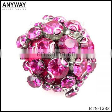 Fancy Red Cheap Button with Flatback Rhinestone for Fashion Wear