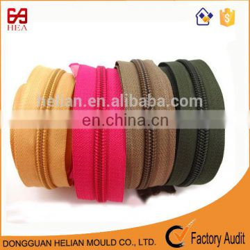 2017 new design #5 heavy duty nylon polyester zipper long chain with spiral teeth