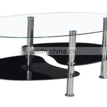 Hot selling modern high quality black or white Glass coffee table with Stainless steel leg living room furnture PCT14109