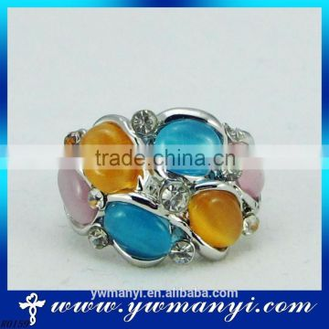 Fashion style gold plated wholesale market colors rainbow opal ring R159
