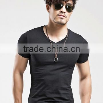 Men's Tops Tees 2016 summer new cotton v neck short sleeve t shirt men fashion trends fitness tshirt