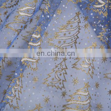 2015 Wholesale Christmas Tree China Textile Spraying Organza Fabric Priting