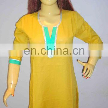 Half sleeve yellow color indian style clothing designer cotton tunic kurtis beach wear wholesale in Thailand india usa