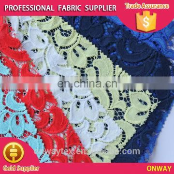 colourful burnt-out polyester/cotton solid lace for all ladies' garment accessories
