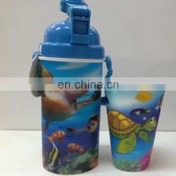 Fancy 500ml plastic 3d lenticular tea cups with lid