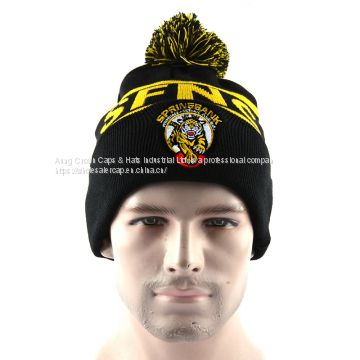 d79672a4fdb 100%Acrylic Cheap Fur POM POM Beanies Knitted Hats of custom acrylic beanie  from China Suppliers - 159488295