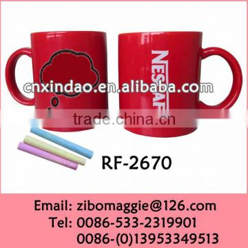 U Shape Colored Ceramic Chalk Mug with Nescafe Design for Wholesale Ceramic Coffee Cups