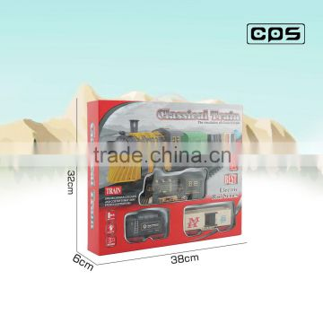 Battery operated assemble tracking train toy with light and music