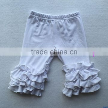 Autumn hot sale children's back to school icing pants baby girls boutique ruffle capri pants kids cotton dancing wear