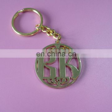 hollow out round shaped customized metal keychain promotional gift keychain with soft enamel