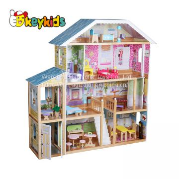 New arrival children large wooden dolls house furniture sets with elevator W06A355C