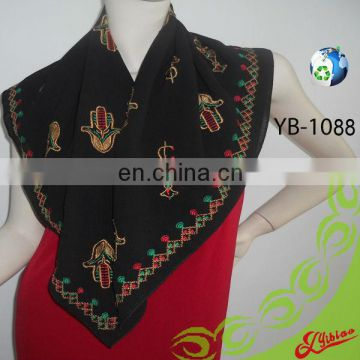 New Design Hand Embroidery Square Fashion Chiffon Polyester Scarf