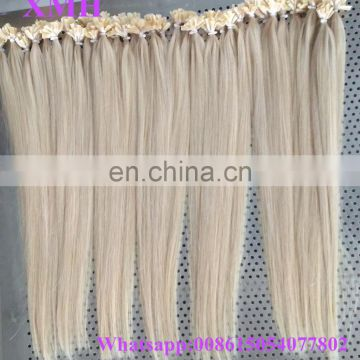 Pre-bonded Hair Extension Brazilian Straight Wavy Kinky Curly U tip Platinum blonde 100 Keratin Tip Human Hair Extension