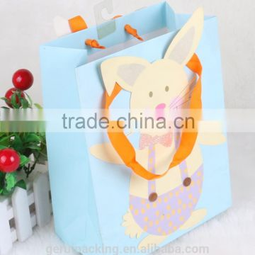 Colorful 3D Large paper packaging bag with glitter J plastic hook