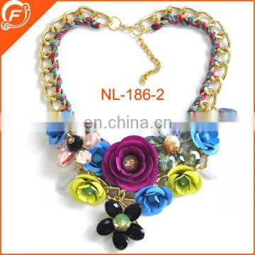 flower beaded necklace with metal chain for women clothings necklace