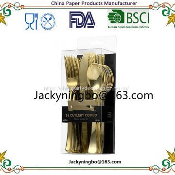 Food Safe Grade Gift Color Box Pacage 160Pieces Blush Gold Plastic Cutlery Set Includes 80 Forks 40 Spoons 40 Knifes
