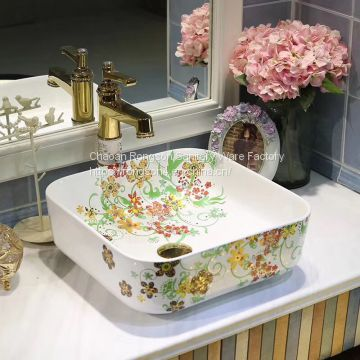 New model ceramic colorful decorative wash face basin