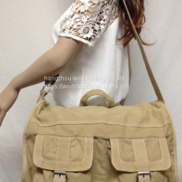 top handle khaki messenger bag shoulder bag with pockets