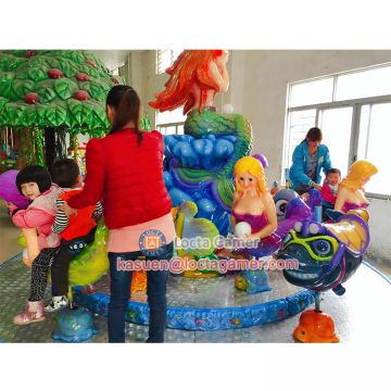 Zhongshan amusement mini carousel horse Mermaide rides for sale rotate coffee cup