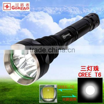 GOREAD Y80 High bright rechargeable flashlight 3*XML-T6 5 mode 30W stainless head search products