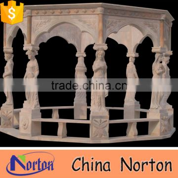 China large marble gazebo garden decoration with lady statue NTMG-247S