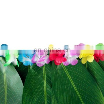 Hawaiian hula grass leaf skirt with flowers