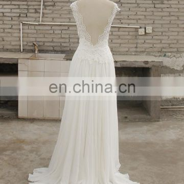 Sightly V-Neck Backless Lace Chiffon Beach Bohemian Wedding Dress