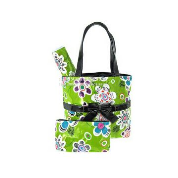 printed diaper bag with tote handle and bow