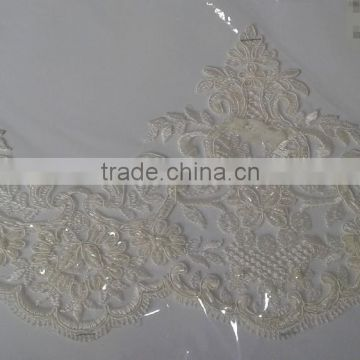 Sparkling beads and sequins decoration bridal lace trimming/	Lace fabric lace trimming suppliers/100 polyester guipure lace tri