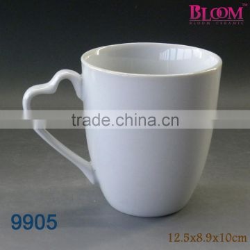 Heart shape blank wholesale ceramic mugs