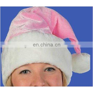 Hot selling pink plush christmas santa claus hat