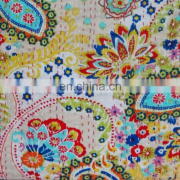 Beautiful Yellow handmade Paisley kantha Indian Throw reversible kantha bedspread