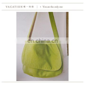 Green ECO cotton cross body student bag