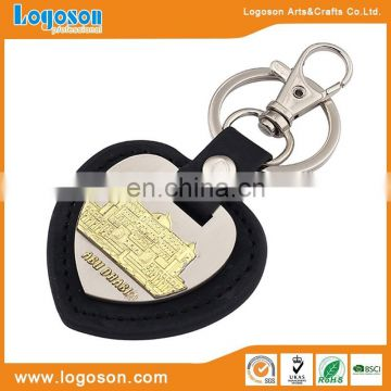 Unique design leather keyring with clock keychain