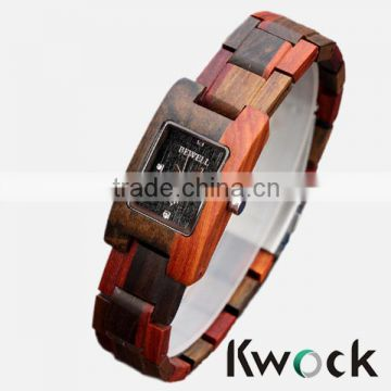 Hot Selling Lady bangle Brown Red Wood Watch With Japanese Miyota movement For Italy