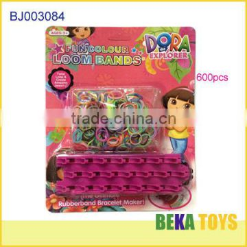 Funny dora diy rubber loom band kit make knitting loom bracelet set