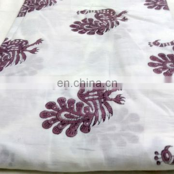 block printed fabric, soft cotton dress fabric