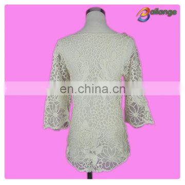 Bailange blouses & tops product type lace blouse new fashion hollow out cotton lace crochet top