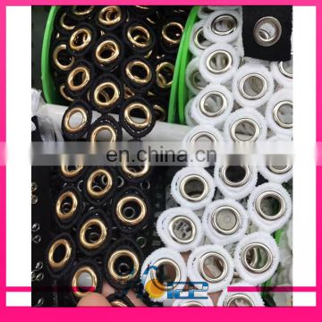 Latest design gold metal grommet eyelet black polyester lace trimming for garment and shoe