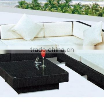 All-purpose sectional outdoor patio 9 seat sofa and dining combo set with ottoman rattan furniture B016