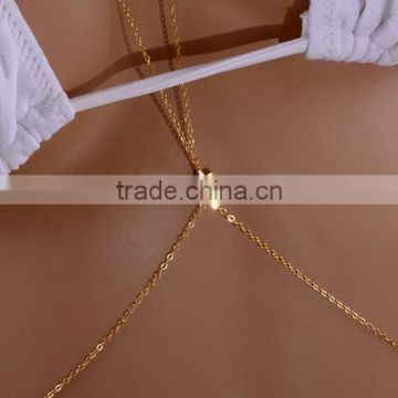 Yiwu manufactory very cheap offer Gold Fill Body Chain- double belly chain, beach body jewelry,sexy beach jewelry