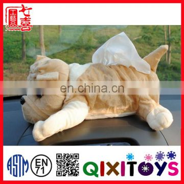 plush dog shape square tissue box cover / customize plush animal shape tissue box cover