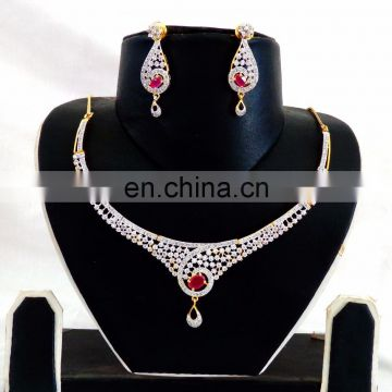 Designer American Diamond Necklace set - Indian Gold Plated CZ Jewellery - American Diamond Bridal jewellery - CZ Necklace set