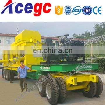 Big capacity 100-300tph mobile trommel gold sand separator machine