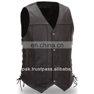 HMB-5130A BLACK LEATHER JACKET COAT SIDE LACES VEST COATS ON SALE