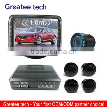 3.5 inch LCD monitor video parking sensor system with camera and buzzer