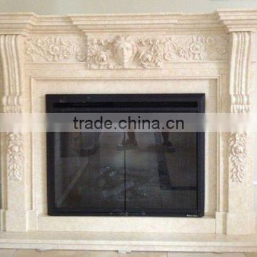 Natural white marble fireplace
