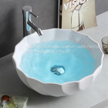 No hole bathroom white thin rectangle ceramic new design basin sink